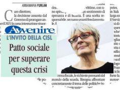 Annamaria Furlan ad Avvenire, dialogo e solidarietà per patto sociale contro crisi