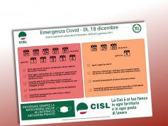 Coronavirus, il volantino della Cisl con le misure dal 24 dicembre al 6 gennaio