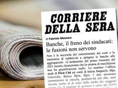 Studio First Cisl sul Corsera, costi e redditività non c'entrano con fusioni banche