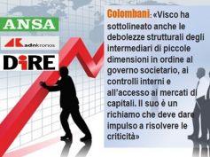 Colombani sulle agenzie di stampa, bene Visco su sostegno banche ma piccoli istituti vanno tutelati