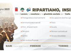 Dl Sostegni, Cgil, Cisl, Uil riprendono percorso di mobilitazione, il 26 giugno tre manifestazioni nazionali a Bari, Firenze e Torino