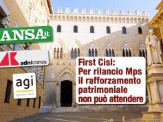 Mps, studio First Cisl sulle agenzie di stampa, piano errato, rafforzamento patrimoniale non può attendere Ue