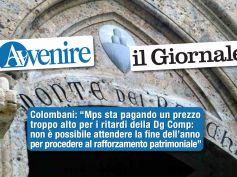 Studio First Cisl su Avvenire e il Giornale, Colombani, strada obbligata per Mps è rilancio con forte patrimonio