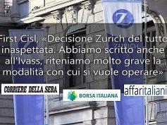 Zurich Italia vuole chiudere 10 sedi, sindacati chiedono confronto coi vertici aziendali, si terrà nei prossimi giorni