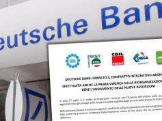 Deutsche Bank, firmato il Contratto integrativo aziendale. Bene andamento nuove assunzioni