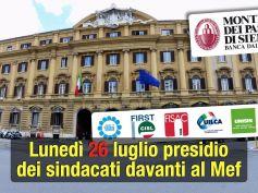 Mps, l'ora della responsabilità. Il 26 luglio presidio dei sindacati davanti al Mef