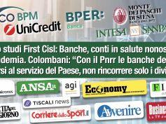 Report First Cisl su prime cinque banche italiane approda sulla stampa, conti ok malgrado la pandemia