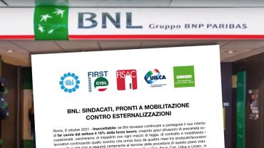 Bnl, sindacati, pronti a mobilitazione contro esternalizzazioni